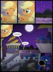 applejack_(mlp) castle comic cowboy_hat cutie_mark english_text equine female feral friendship_is_magic hat horn horse my_little_pony night pony princess_luna_(mlp) telescope text winged_unicorn wings xenoneal   Rating: Safe  Score: 1  User: darknessRising  Date: November 07, 2013