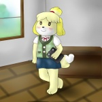 2013 animal_crossing anthro blush canine dog female hair isabelle_(animal_crossing) nintendo smile solo video_games zekromlover   Rating: Safe  Score: 1  User: zekromlover  Date: July 17, 2013