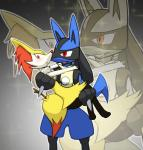 aionu607 braixen canine duo fox lucario mammal nintendo pokémon princess_carry video_games  Rating: Safe Score: 5 User: Rad_Dudesman Date: August 17, 2015