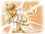 2015 applejack_(mlp) blonde_hair bride clothing dress earth_pony equine female feral friendship_is_magic green_eyes hair hi_res horse long_hair mammal my_little_pony pony smile solo vavacung   Rating: Safe  Score: 9  User: Robinebra  Date: April 07, 2015