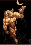 abs anthro biceps blue_eyes bovine brown_fur chain clothing feather fur guardian-beast hooves horn loincloth male mammal minotaur muscles pecs pose solo standing underwear   Rating: Safe  Score: 5  User: unforget  Date: January 15, 2013