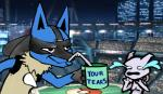 crying cup lucario mewtwo nintendo pokémon stadium straw super_smash_bros tears trolling video_games   Rating: Safe  Score: 3  User: TheFallen  Date: February 23, 2014