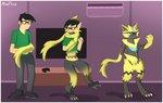 absurd_res alsoflick avelicanart border domestic_cat electric felid feline felis hi_res legendary_pokémon mammal nintendo pokémon pokémon_(species) scarf sequence transformation video_games white_border zeraora