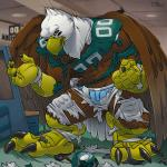 2016 american_football angry anthro armor avian bald_eagle bird black_sclera carpet clothing cracks cubicle destruction eagle football_player growth helmet hi_res jersey locker locker_room macro male nfl pheagle philadelphia_eagles solo sport swoop_(philadelphia_eagles) teaselbone torn_clothing transformation uniform