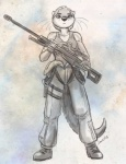 anthro anti-materiel_rifle boots caribou_(artist) clothing coast_guard female flight_suit footwear greyscale gun handgun holding_weapon holster looking_at_viewer mammal monochrome mustelid otter pistol ranged_weapon rifle scope shirt sniper sniper_rifle solo tank_top traditional_media_(artwork) united_states_of_america weapon  Rating: Safe Score: 12 User: Fenrick Date: February 01, 2015""