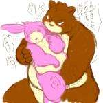 """armadirou bear blush chubby duo embrace eyes_closed forced grope japanese_text kemono licking male mammal open_mouth plain_background red_eyes size_difference sketch text tongue tongue_out white_background  Rating: Questionable Score: 5 User: terminal11 Date: May 21, 2014"""""""