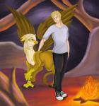 2013 amber_eyes avian blonde_hair eye_contact female feral fire gryphon hair human male my_little_pony original_character outside peter_collins shinonigga smile sveti_whisperwind wings   Rating: Safe  Score: 4  User: Robinebra  Date: February 23, 2014