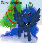 christmas equine eyes_closed feathered_wings feathers female feral friendship_is_magic hi_res holidays horn kissing looking_at_viewer magic mammal mistletoe my_little_pony plant princess_luna_(mlp) singingbirdstudio solo winged_unicorn wings  Rating: Safe Score: 7 User: Arjax Date: March 13, 2016