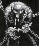 angry anthro broke_chain canine chain claws comic fangs fist looking_at_viewer male mammal monochrome muscles nude pose prisoner saliva sharp_teeth solo teeth unknown_artist were werewolf  Rating: Safe Score: 1 User: Vanzilen Date: July 19, 2015