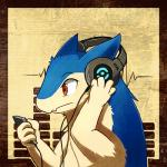 4_fingers anthro blue_fur brown_background cute ears_back eyebrows focused fur headphones ipod listening_to_music looking_away low_res male mammal multicolored_fur music music_player mustelid nintendo pattern_background pokémon red_eyes rikuaoshi side_view simple_background solo sound two_tone_fur typhlosion video_games white_fur