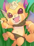 2015 berseepon09 claws clothing cub digital_media_(artwork) fangs fur gnar_(lol) happy hi_res league_of_legends loincloth looking_at_viewer male mammal melee_weapon open_mouth pawpads paws solo video_games weapon yordle young  Rating: Safe Score: 6 User: RedOrangeShiba Date: October 24, 2015