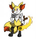 braixen canine fire fluffy fluffy_tail fox fur mammal nintendo paws pokémon red_eyes risu simple_background smirk solo stick video_games  Rating: Safe Score: 2 User: slyroon Date: October 05, 2015