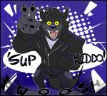 2017 3_toes 5_fingers anthro black_fur canine clothed clothing english_text front_view fully_clothed fur hand_in_pocket hi_res jacket karma_(torquewintress) male mammal open_mouth paws solo text toes torquewintress wolf yellow_eyesRating: SafeScore: 10User: RimeyDate: January 09, 2018