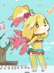 animal_crossing anthro canine clothed clothing dog female isabelle_(animal_crossing) looking_at_viewer looking_back mammal musical_note nintendo outside rear_view shih_tzu skimpy sky smile solo tree unknown_artist video_games  Rating: Safe Score: 8 User: Jatix Date: September 08, 2014