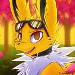 2015 brown_eyes candyfoxy collar cyberjolteon eeveelution eyewear fangs feral forest fur grass headshot_portrait jolteon looking_at_viewer male neck_tuft nintendo open_mouth pokémon portrait smile solo sunglasses tongue tree tuft video_games white_fur yellow_fur   Rating: Safe  Score: 14  User: TheGreatWolfgang  Date: May 12, 2015