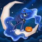 2014 blue_eyes blue_hair crown cutie_mark equine female feral friendship_is_magic hair halloween holidays horn looking_up mammal moon my_little_pony necklace princess_luna_(mlp) pumpkin solo space sparkles standing star swanlullaby winged_unicorn wings  Rating: Safe Score: 8 User: 2DUK Date: October 25, 2014