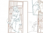 anthro bancholeomon black_nose book clothed clothing comic digimon duo gaomon library male secret_passage sketch staircase stalking standing uncolored 奧爾薩_凱【kai】   Rating: Questionable  Score: 0  User: Circeus  Date: August 31, 2013