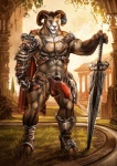 """aaron_(character) abs anthro armor biceps big_penis bighorn_sheep brown_fur building bulge caprine cheetahpaws convincing_weapon fur general horn humanoid_penis looking_at_viewer male mammal melee_weapon muscles outside pecs penis pose sheep solo standing sword tattoo tree unconvincing_armor vein vpl warrior weapon wood  Rating: Explicit Score: 40 User: denxx Date: March 14, 2012"""""""