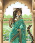 2015 anthro breasts brown_hair claws clothing clouded_leopard devani dress feline female garden hair india jewelry kacey leopard looking_at_viewer mammal pink_nose pond shawl solo   Rating: Safe  Score: 38  User: Wadxxx  Date: January 12, 2015