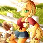 2014 anthro anthrofied applejack_(mlp) blonde_hair breasts brown_fur canine cleavage clothed clothing collar cowboy_hat dog duo earth_pony equine evehly female fence freckles friendship_is_magic fur grass green_eyes hair hat hi_res horse leaning mammal my_little_pony navel open_mouth orange_fur outside pony ponytail shorts smile tongue tongue_out winona_(mlp)  Rating: Safe Score: 13 User: 2DUK Date: June 14, 2014