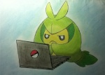 ambiguous_gender computer laptop looking_at_viewer nintendo pokémon solo swadloon unknown_artist video_games
