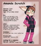 amanda_scratch blush candy_cane clothing cub feline female green_eyes hoodie lynx mammal model_sheet passpartou solo young   Rating: Safe  Score: 7  User: slyroon  Date: March 27, 2015