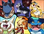 2014 ambiguous_gender anthro arcanine belly big_belly black_fur blue_background blue_fur blue_skin brown_eyes canine chesnaught claws clothed clothing drooling english_text eyes_closed fanf feral fin fox fur green_background group hyena incredibleediblecalico internal legendary_pokémon leon licking licking_lips male mammal mega_evolution mega_lucario mightyena multicolored_fur neck_bulge nintendo nude orange_background orange_fur pawpads pokémon purple_background raikou red_background red_eyes saliva sharp_teeth signature simple_background size_difference smile soft_vore stripes swampert teeth text toe_claws tongue tongue_out video_games vore white_fur yellow_background yellow_fur yellow_sclera  Rating: Safe Score: 1 User: GameManiac Date: May 02, 2016
