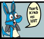 anthro arcadian blue_body canine fur humor lucario mammal meme nintendo open_mouth parody pokémon pokémon_(species) reaction_image smile solo text that's_kind_of_hot video_games