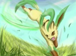 ambiguous_gender eeveelution feral grass leafeon nintendo outside pokémon potira sky solo video_games
