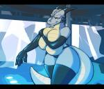 anthro big_breasts breasts clothed clothing dracojeff dragon female gloves grey_skin half-dressed horn huge_breasts legwear rubber solo stockings talash topless  Rating: Questionable Score: 21 User: Arkham_Horror Date: November 14, 2015