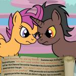 bitterplaguerat blue_eyes dialogue earth_pony english_text equine friendship_is_magic horn horse loki_(bitterplaguerat) mammal my_little_pony pegasus pony scootaloo_(mlp) text wings yellow_eyes