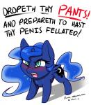 absurd_res blue_eyes blue_feathers blue_fur blue_hair blue_horn blush captainpudgemuffin cute cutie_mark dialogue english_text equine eyelashes feathered_wings feathers female feral friendship_is_magic fur hair hi_res hooves horn humor long_hair mammal my_little_pony open_mouth pink_tongue princess_luna_(mlp) simple_background solo standing teeth text tongue white_background winged_unicorn wings