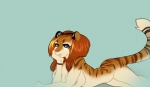 2013 bomchini breasts feline female hair looking_at_viewer mammal nipples nude orange_hair plain_background solo stripes tiger   Rating: Questionable  Score: 15  User: fritz  Date: July 29, 2013
