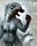 anthro blood blood_on_face bodily_fluids breasts dripping_blood ears_back fangs female feral fur grey_body grey_fur hibbary hyaenid mammal mane nipples open_mouth pivoted_ears spots