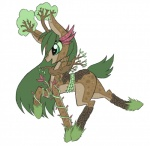 2015 brown_fur equine fan_character fur green_eyes green_fur horse mammal my_little_pony nude open_mouth plant pony raised_leg raptor007 side_view simple_background smile solo spots tree vines white_background  Rating: Safe Score: 5 User: GameManiac Date: October 03, 2015