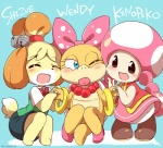 animal_crossing anthro blue_eyes blush bracelet canine dog eromame eyes_closed female group isabelle_(animal_crossing) jewelry koopaling lips mammal mario_bros necklace nintendo one_eye_closed simple_background toadette video_games wendy_o_koopa  Rating: Safe Score: 6 User: Nuji Date: February 04, 2016