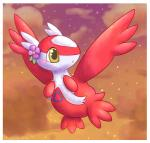 blush cloud dragon feathered_wings feathers female flower flying fuwante-chan latias legendary_pokémon nintendo outside plain_background plant pokémon red_feathers scalie solo star video_games white_feathers wings yellow_eyes  Rating: Safe Score: 5 User: RebeccaShy Date: June 12, 2015""