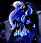 2015 absurd_res armor blue_eyes blue_hair blumagpie crown cutie_mark equine eyeshadow fangs female friendship_is_magic glowing hair hi_res horn long_hair makeup mammal my_little_pony nightmare_moon_(mlp) sitting slit_pupils smile solo sparkles throne winged_unicorn wings   Rating: Safe  Score: 6  User: 2DUK  Date: April 02, 2015