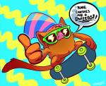 advice ambiguous_gender hat mankey nintendo pokémon pokémon_(species) simple_background skateboard skateboarding solo spamcat text thumbs_up top_hat video_games