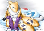 anthro bed black_sclera blue_eyes breasts canine clothing digimon elbow_gloves facial_markings female fox fur gloves karabiner looking_at_viewer mammal markings nude pillow renamon sitting solo yellow_fur   Rating: Questionable  Score: 12  User: Anomynous  Date: February 28, 2007