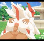 anal anus balls bestiality big_butt blush butt butt_grab canine erection feral fountain hand_on_butt human human_on_feral humanoid_penis interspecies lillipup looking_back lucky_(luckyabsol) male male/male male_on_feral mammal manene mega_absol mega_evolution nintendo outside park penis pokémon pokémon_(species) poképhilia public raised_tail shiny_pokémon tongue tongue_out video_games