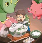 ambiguous_gender book clothed clothing crossover egg facial_hair feral flora_fauna group heating_pad hi_res hoppip human luigi male mammal mario_bros meganium mustache nintendo plant pokémon pokémon_(species) sewaddle simple_background towel uroad7 video_games
