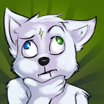 <_> abstract_background ambiguous_gender anthro black_nose bust_portrait canine derp_eyes digital_media_(artwork) drooling fur green_background hand_on_chin heterochromia ivybeth mammal nude portrait saliva simple_background solo thinking what white_fur wolf