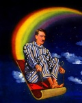 adolf_hitler clothing cloud cloudscape facial_hair human humor low_res magic_carpet male mammal mustache night not_furry outside pajamas rainbow rainbow_arch serious_business sky sled sleigh solo star starry_sky unknown_artist what