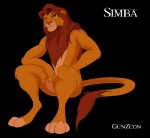 anthro anthrofied black_background brown_eyes disney feline gunzcon lion looking_at_viewer male mammal mane nude simba simple_background sitting solo the_lion_king yellow_body