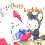 ambiguous_gender aokabike blush claws clothing duo emolga eyes_closed female gift latias legendary_pokémon nintendo open_mouth pokémon text video_games  Rating: Safe Score: 0 User: Goldenbanana1231 Date: June 29, 2015""