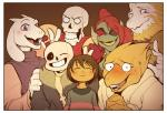alphys ambiguous_gender asgore_dreemurr blush bone boss_monster caprine female fish frisk_(undertale) group human male mammal marine palidoozy papyrus_(undertale) protagonist_(undertale) reptile sans_(undertale) scalie skeleton smile toriel undertale undyne video_games  Rating: Safe Score: 38 User: WhiteWhiskey Date: November 26, 2015