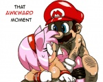 all_fours amy_rose anthro awkward bent_over big_breasts blue_eyes blush breasts doggystyle duo edit facial_hair female from_behind hat hedgehog human human_on_anthro interspecies looking_back male male/female mammal mario mario_bros mustache nezumi nintendo plain_background rape_face sex sonic_(series) sweat text tko-san video_games white_background   Rating: Explicit  Score: 24  User: Ko-san  Date: January 20, 2014