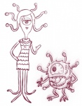 beholder celia disney dungeons_&_dragons duo fangs female looking_at_viewer male mike_wazowski monochrome monster monster_girl monsters_inc pixar tentacles  Rating: Safe Score: 0 User: Juni221 Date: August 11, 2015