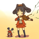 black_hair bow_(stringed_instrument) clothing cosplay dress duo eyes_closed female feral front_view hair hitec holding_musical_instrument holding_object human kricketot mammal music musical_instrument nintendo playing_music playing_violin pokémon pokémon_(species) pokémon_trainer shirt skirt standing video_games violin